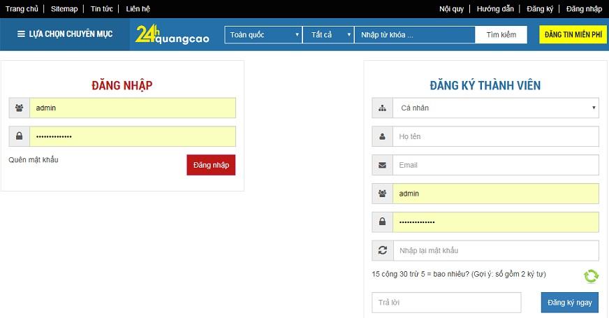 Hướng dẫn đăng ký thành viên 24hquangcao.com