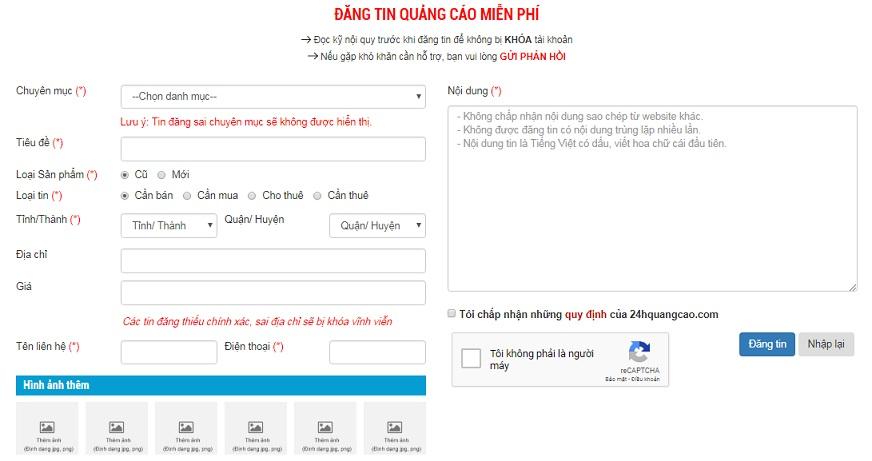 Hướng dẫn đăng tin 24hquangcao.com